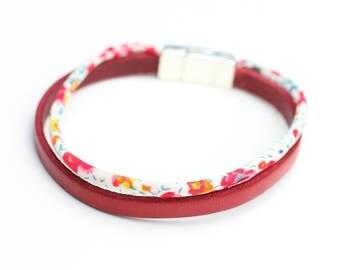 Magnetic red leather bracelet