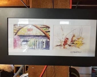Framed prints - CLOCK through the ARCH and CARDINALS in winter