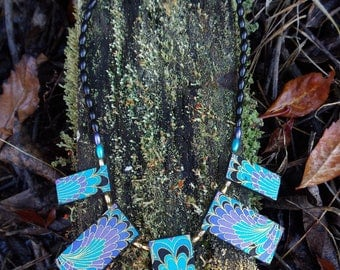 Turquoise plume fabric covered pendant necklace 46cm by Andrew Paget