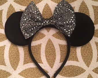 Grey Sequin Mouse Ears, Minnie Mouse Ears, Mickey Mouse Ears, Minnie Ears, Mickey Ears, Disney Ears, Disney World, Disney