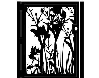 Artistic Metal Fairy Gate - Fairy Garden - Outdoor Steel Art - Fairies in a Garden Gate - Fairy Driveway Gate - Fairy Wall Panel