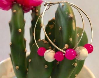 Hot Pink Howlite Hoops