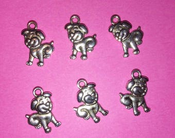 6 Piece Tibetan Silver Charms for Earrings or Necklaces