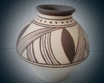 Ceramic, Vessel, Art work, artwork, collectibles, Folk Art, Art vessel, hand painted, gift, neolithic art, Collection, clay vessel, pottery