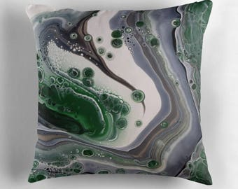 Original Art Print Throw Cushion. Pre Order, Custom Order. Green Thunder.