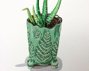Succulent in Green Planter