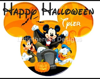 Mickey , Goofy & Donald Happy Halloween Iron On Transfer