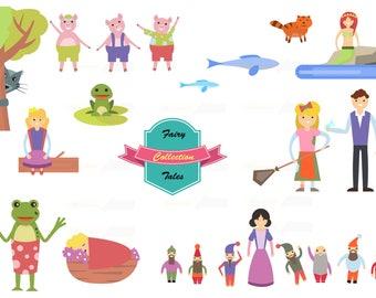 80% off Promo sale,Cute Fairy tale illustration digital clipart set,digital clip art,cliparts,clipart commercial use, Fairy tale