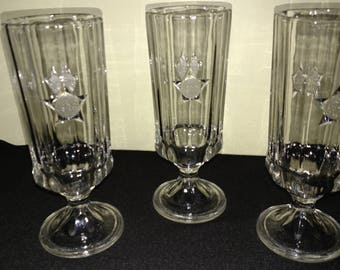 Set Of Three Bicentennial Footed Water Glasses