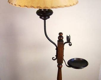 1930's Wrought Iron Spanish Revival Monterey Style Early California Floor Lamp