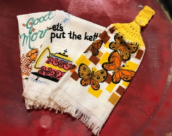 Three 1970's Vintage Cup Towels One with Crochet Button Fasten and Great Retro Artwork and Fonts