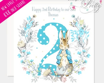 Peter Rabbit Personalised floral Birthday card Large size 8x8 inch
