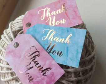 20 Mini Thank You Tags| Rose Gold Foil | Blue Pink Purple Watercolor