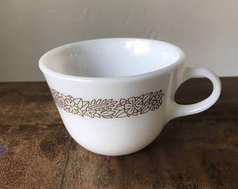 VINTAGE PYREX Woodland Brown Closed Handle Coffee/Tea Cup