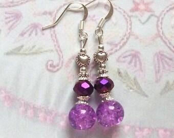 Earrings silver metal hearts purple cracked glass beads