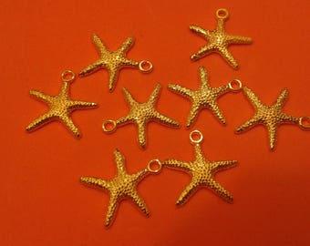 "set of 8 ""Starfish"" gold charms"