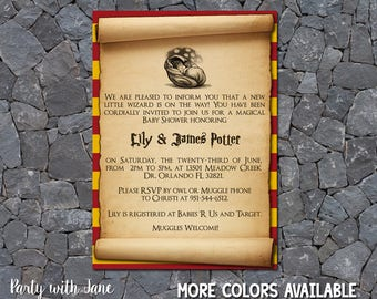 Harry Potter Baby Shower Invitation, Invite, Sprinkle, Girls Boys, Hogwarts, Gryffindor, Slytherin, Hufflepuff, Ravenclaw, Printable, 4x6