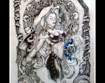 "Graphite Drawing Original-"" Blue-Fisted Lady"" - Fantasy Drawing - Goth - SteamPunk"