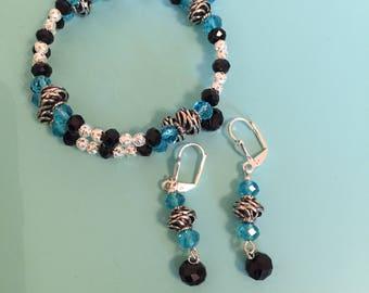 Beaded Wrap Bracelet / Charm Bracelet / Statement Bracelet / Turquoise Bracelet / Silver Bracelet / Women's Gift / Bracelet Set / Gift Idea