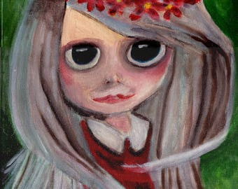 """A3 """"Print"""" of Acrylic Painting Little Person """"Courtney"""" by Treborre. Take Her Home Today"""