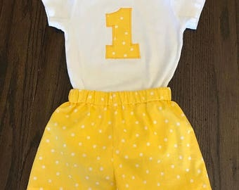 SALE First Birthday - Onesie with Matching Shorts - Smash Cake Outfit