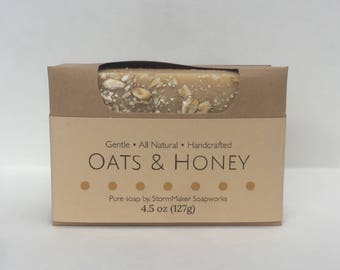 All Natural Oats & Honey Soap, Herbal Bath Bar, Soothing, Exfoiliating