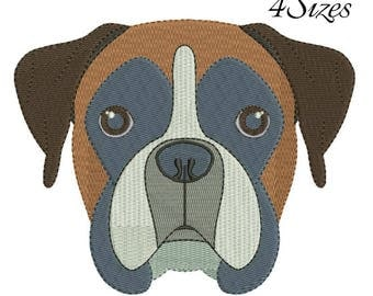 Boxer embroidery machine design animal digital instant download pattern hoop file t-shirt fill stitch dog puppy designs