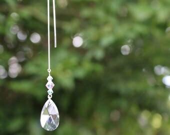 Swarovski Crystal & Sterling Silver Thread Earrings