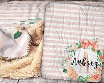 Personalized Blanket - Sherpa Throw Blanket -  Floral Name Blanket - Watercolor Monogram Blanket - Personalized Name Blanket - Baby Blanket