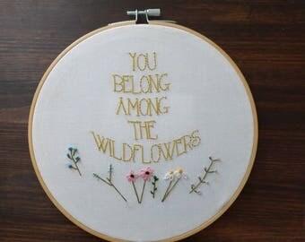 Wildflowers embroidery hoop