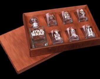 Star Wars Glass Whiskey decanter Set Christmas gift  R2-D2 Yoda Darth Vader Whiskey decanter Fathers gift Gift for men Whiskey glass set