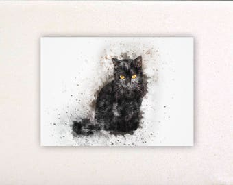 Black cat - Watercolor prints, watercolor posters, nursery decor, nursery wall art, wall decor, wall prints | Tropparoba 100% made Italy