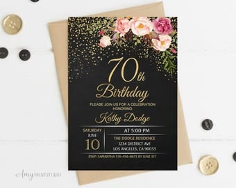 70th Birthday Invitation, Floral Women Birthday Invitation, Chalkboard Birthday Invite, PERSONALIZED, Digital file, #W16