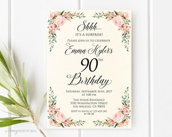Surprise 90th Birthday Invitation, Ivory Floral Birthday Invitation, Any Age, Watercolor, Cream Invite, PERSONALIZED, Digital file, #W66