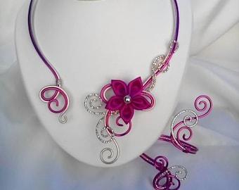 Necklace / bracelet Fuchsia aluminum wire and light gold