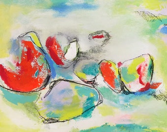 Masquerade -Mixed media on watercolor paper  - Affordable art