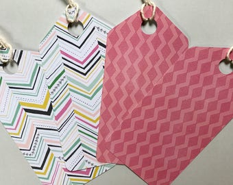 Handmade tags - Gift tags - Large tags - Geometric print - pack of 4