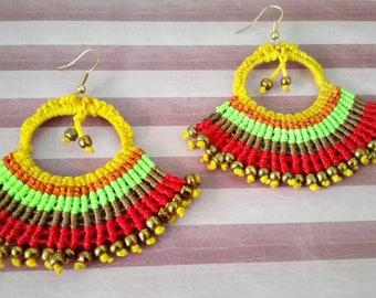 Colorful beaded macrame hoop earrings hippie chic gupsy boho style