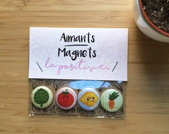 """Custom set of 4 1"""" Hangry Fruits and Vegetables Magnets/Ensemble personnalisé de 4 Macaron Fruits et Légumes Frustrés 1"""""""