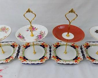 Karen - Wedding Job Lot of 4 Vintage Shabby Chic 2 Tier China Cake Stands