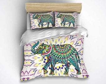 Elephant bedding set, Bohemian Elephant bedding, Duvet cover set