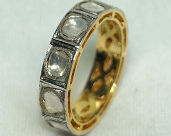 Victorian-style antique finish 1.95ctw rose cut uncut polki diamond Gold plated silver ring cigar band - 2651713