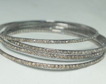 Beautiful 1.77cts rose cut diamonds sterling silver Bangle Bracelet - SKU PJB206