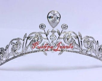 Victorian style 5.50ct. natural rose cut diamonds sterling silver wedding tiara hair accessory based on royal tiara