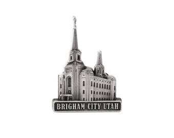 Brigham City Utah Temple Silver Pin - LDS Gifts