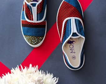 Blue & Red African Print Plimsole Shoes