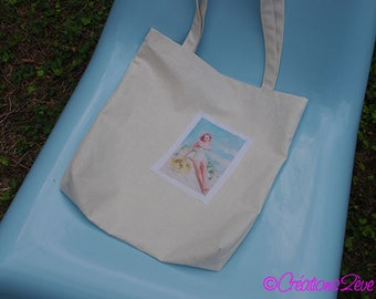 Tote Bag / Tote / beach 100% linen and pin-up bag