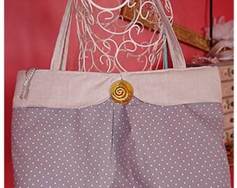 "Large handbag, tote neck ""Claudine"" beige cotton linen and polka dot"
