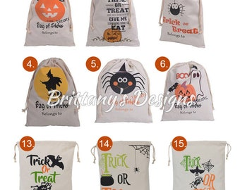 Halloween Loot Bags with Name - Personalized Halloween bags - Trick or Treat - Halloween Bag - Bag - Candy Bag - Spider Witch Pumpkin
