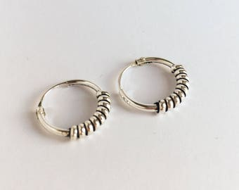 Sterling silver coiled hoops